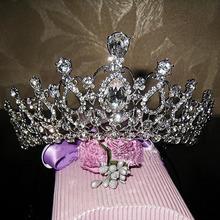 Gorgeous Sparkling Silver Plated Austrian Crystal Big Wedding Diamante Crown Hairband Bridal Tiara Accessories(China (Mainland))