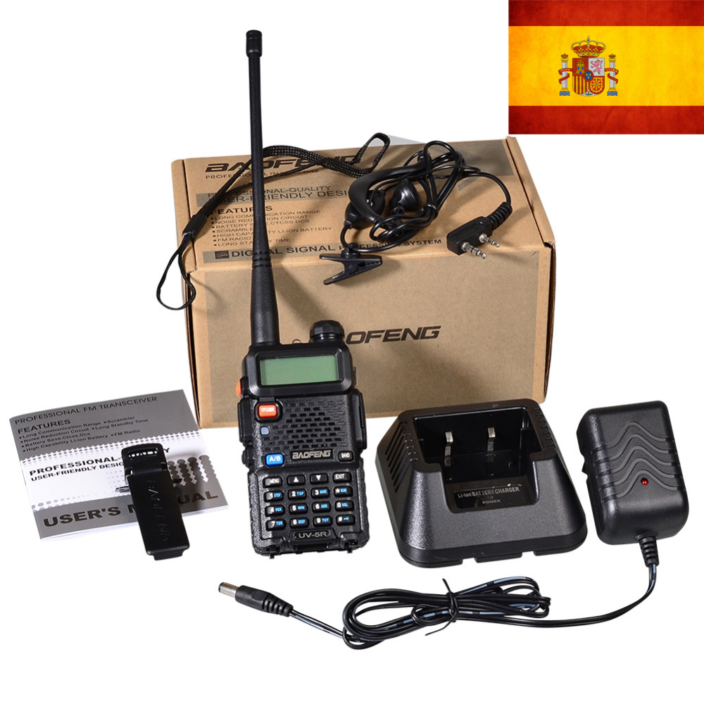 New Black Baofeng UV-5R WalkieTalkie 136-174&400-520MHz Two Way Radio stock in spain-ship by LETTER-only 3 days recieve(China (Mainland))