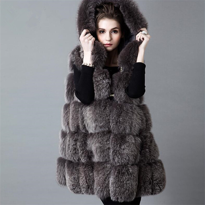 Genuine fox fur hooded vest integral skin Slim put on a large long section of womens fur hooded vestОдежда и ак�е��уары<br><br><br>Aliexpress