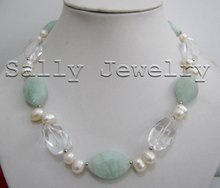 "Free Shipping Wholesale New 2011 17.5"" Natural Aquamarine&Clear crystal&White Pearl Necklace(China (Mainland))"
