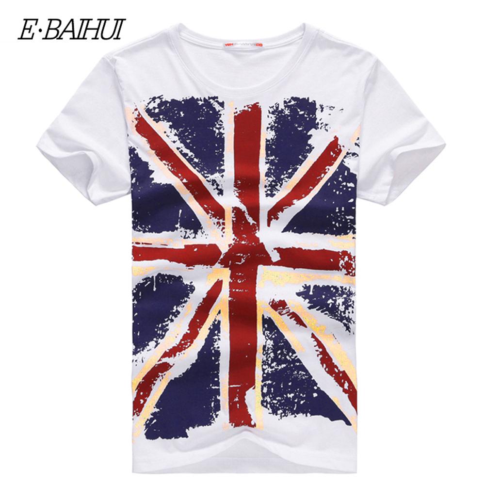 E-BAIHUI Brand Men T Shirt Cotton Union- Jack Clothing Male Slim Fit Man Enlish Flags T-Shirts Skateboard Swag Clothing y001(China (Mainland))