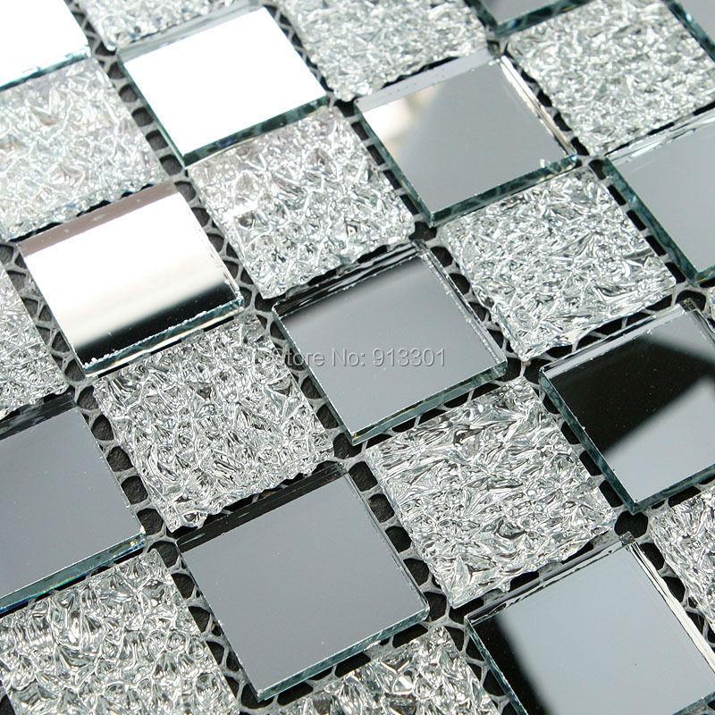 Glass mosaic tiles deco mesh mirror tile flooring cheap - Mirror mosaic tile backsplash ...