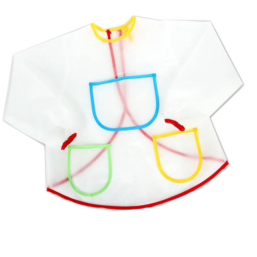 Cute Waterproof Long-sleeved Children Kids Smock Apron for Painting Feeding baberos bavoir clothing(China (Mainland))