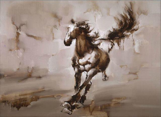 R sum peinture l 39 huile sur toile de cheval de vente for Peinture sur fer a cheval