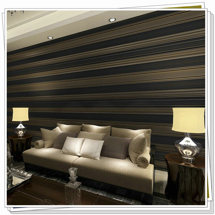2015 New 3d Non Woven Black White Blue Purple Glitter Striped Wallpaper For Living Room