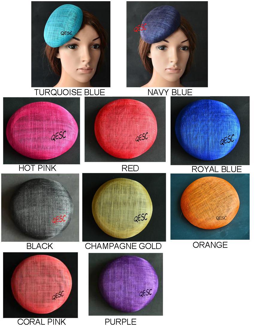 Navy blue 14CM pillbox sinamay base for hair accessory fascinator hat.(China (Mainland))