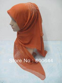 Free Shipping  Hot Drill Voile Muslim Square Scarf Hijab Islamic Shawls(110cm),assorted colors