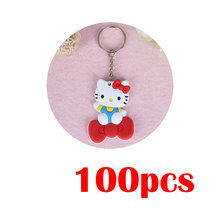 URORU 100 pcs Presentes Criativos Chaveiro Mini chaveiro Olá Kitty Doraemon Dos Desenhos Animados Anime PVC Figura anel chave Pingente Chaveiros(China)
