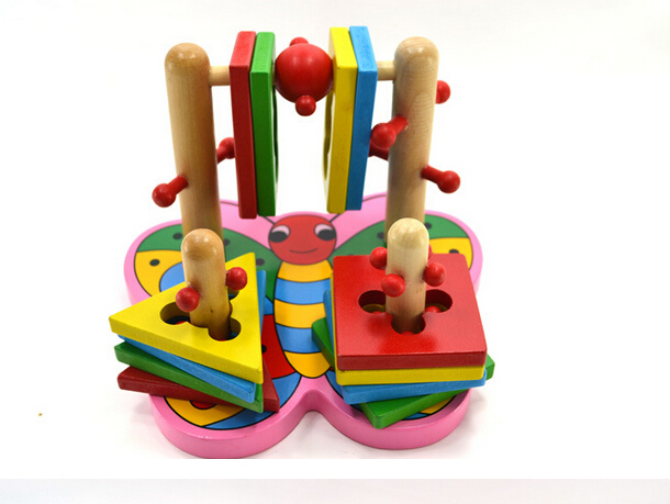 New Kids Gift Educational Game Blocks 4 Pillar Matching Color Butterfly Shape Wooden Block Children Toy(China (Mainland))