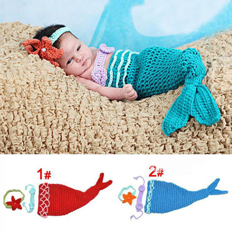 Knitting Pattern For Baby Mermaid Outfit : Aliexpress.com : Buy Baby Infant Mermaid Tail Shells Crochet Knitted Mermaid ...