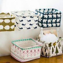 foldable waste bin storage closet toy box container agenda fabric shopping basket(China (Mainland))