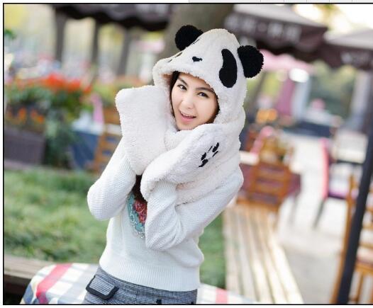 New Autumn Winter Cute Panda Women's Hats Plush One Hooded Scarves Gloves Cartoon Design Beanie Cap