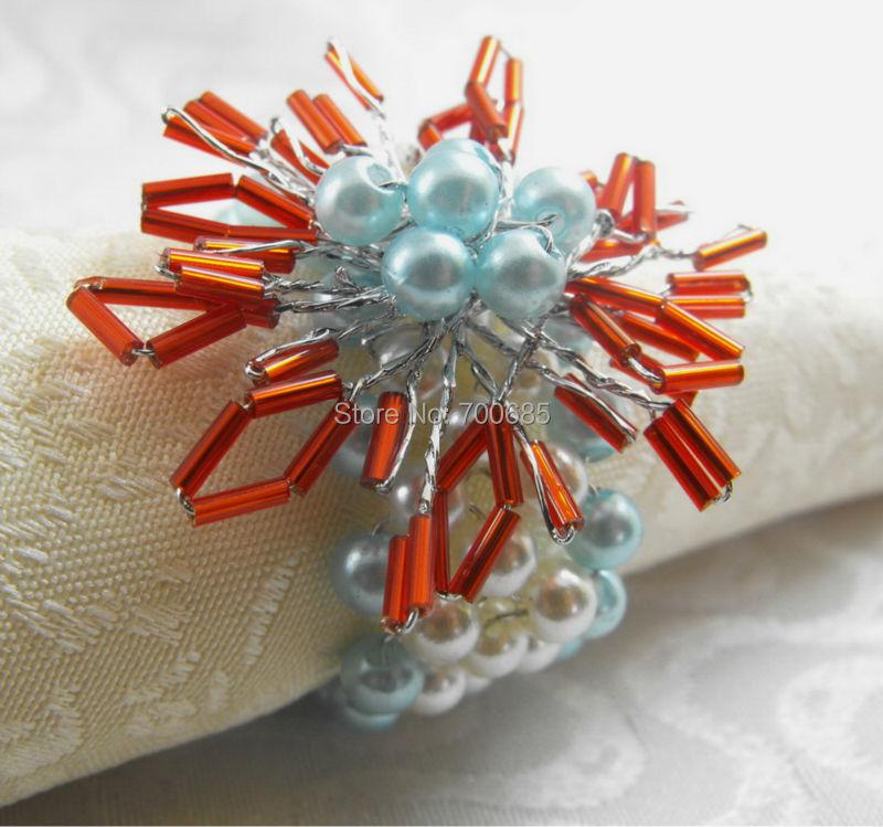 Beaded Flower Napkin Rings