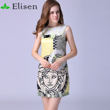 2016 Summer Fashin New Women Causal Straight Dress Sleeveless Character Printed Above Knee Slim Tank Dress(China (Mainland))