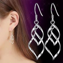 ES927 Big Dangle Earrings For Women Long Drop Brincos Bijoux boucle d'oreille Twist Fashion Jewelry Earring Hollow Leaf Rhombus(China (Mainland))