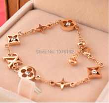 Hot New 14k Rose Gold Plated Charming LU Classic Bracelets/Fancy Bracelets for Women Vintage jewelry Free Shipping(China (Mainland))