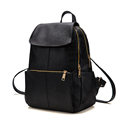 Fashion Preppy Style Backpack Solid Color High Quality Soft Leather Travel Bag 2016 Trendy Designer Double