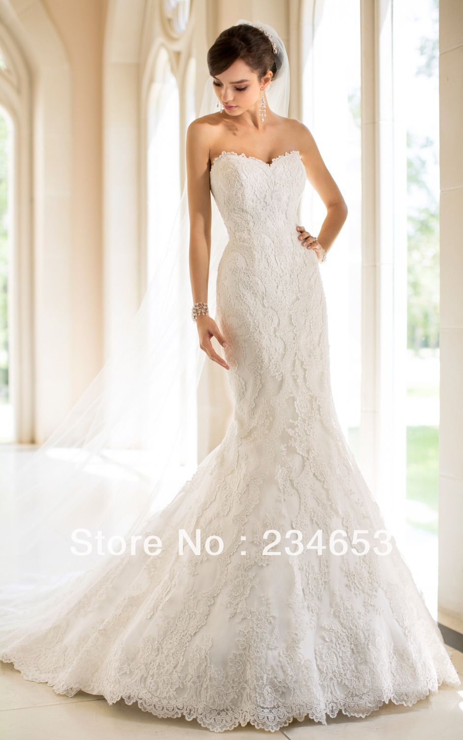 2014 sexy strapless vintage lace trumpet satin wedding for Wedding dresses with lace up back