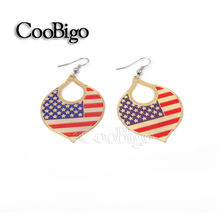 1000 pairs/pack Popular Oval Flag Design Dangling Earring Girls Women Party Fashion Jewelry National Day Accessories #FJ089E-3(China (Mainland))