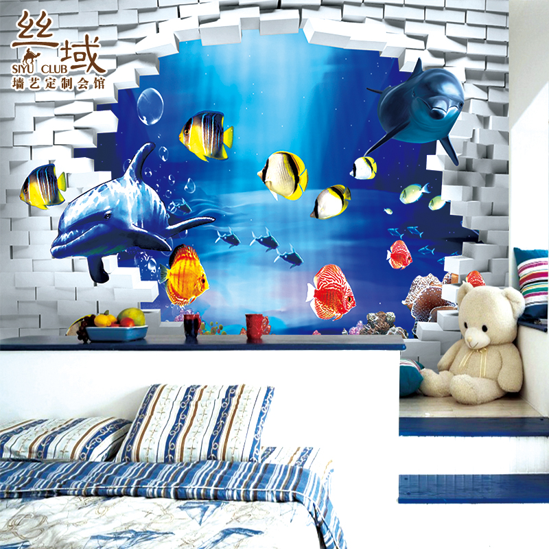 Free shipping cartoon wallpaper children 39 s room bedroom for Children s mural wallpaper