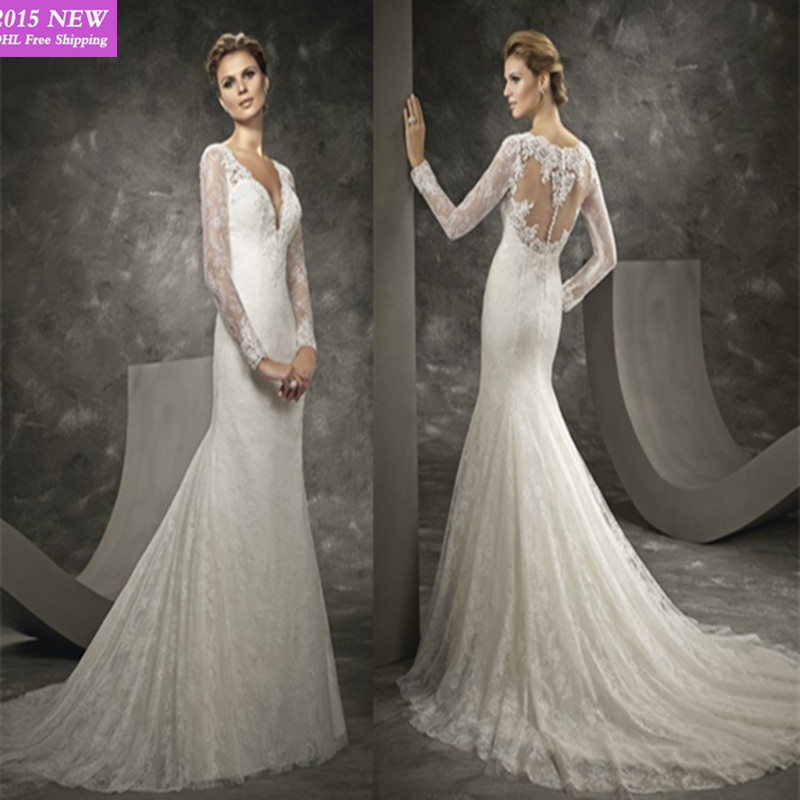 Elegant Wedding Dress Open Back : Wedding dress elegant see through long sleeve open back bridal