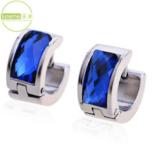 New 2014 Hot Selling Design Lureme Fashion Brand Jewelry Men's Titanium Steel Blue Crystal Earrings High Quality For Tide Boys
