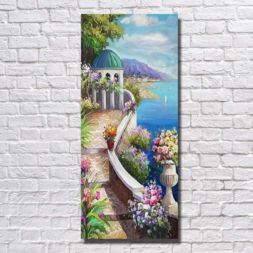 Seascape oil painting hand painted beautiful nature scenery artwork painting Mediterranean landscape painting(China (Mainland))