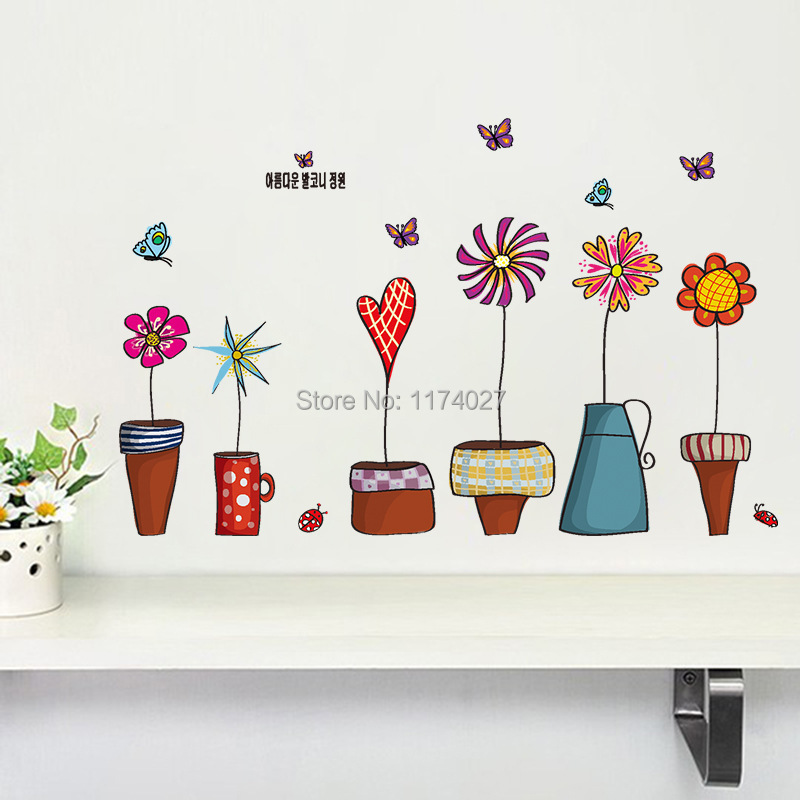 Buy Free Shipping Cartoon Flower Butterfly Wall Stickers Beautiful Window Glass: home decor survivor 6