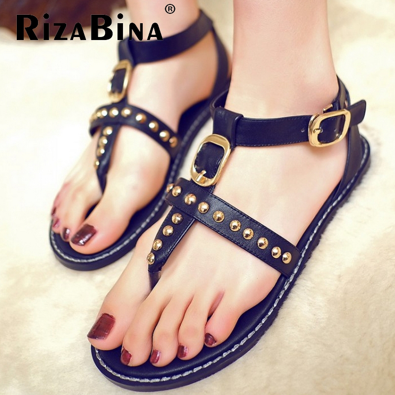 women real genuine leather leisure clip toe flat sandals sexy buckle fashion brand heeled lady vintage shoes size 34-40 R6152<br><br>Aliexpress
