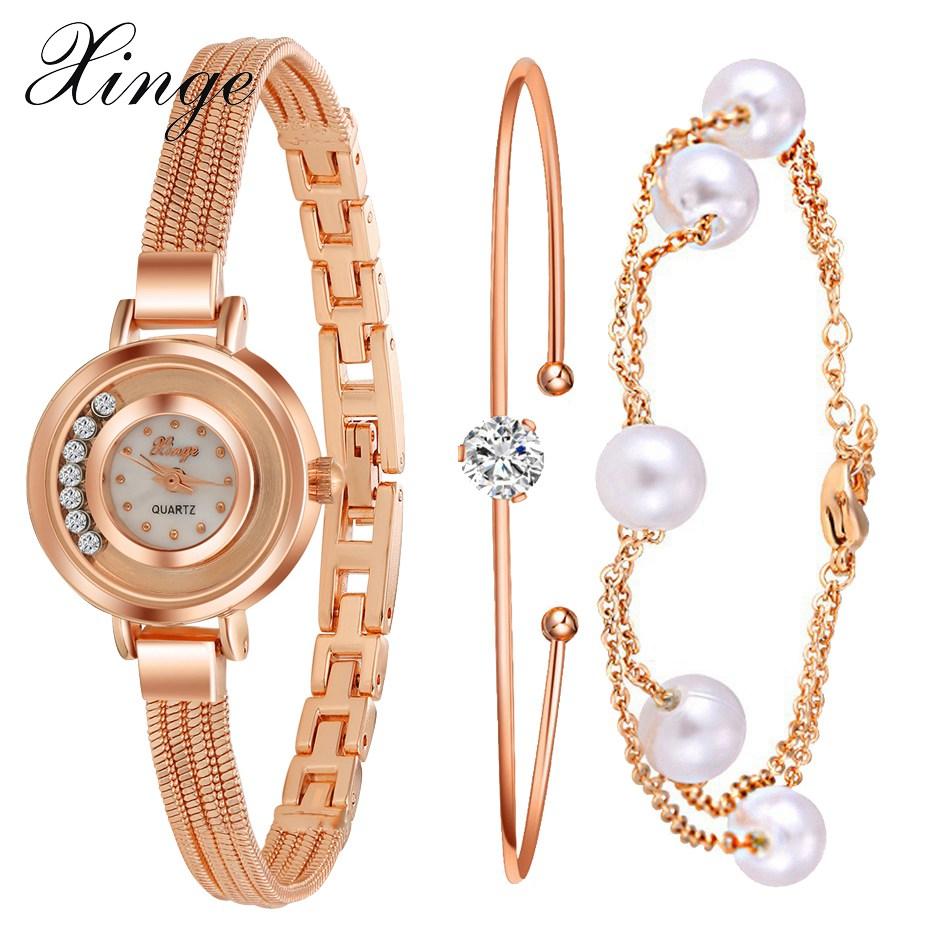 Xinge Brand \Watch Women Bracelet Pearl Luxury Crystal Jewelry Watch Set Wristwatch Waterproof Famous Stainless Steel Watch(China (Mainland))