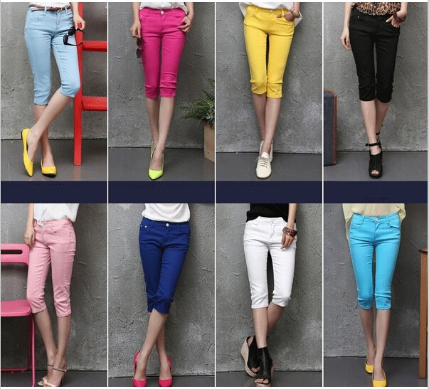 Women's colored capri jeans – Global fashion jeans models