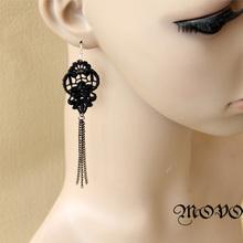 Wholesale Winter series black lace long earrings tassel design earrings drop earring for women Gothic women accessories (EH-61)(China (Mainland))