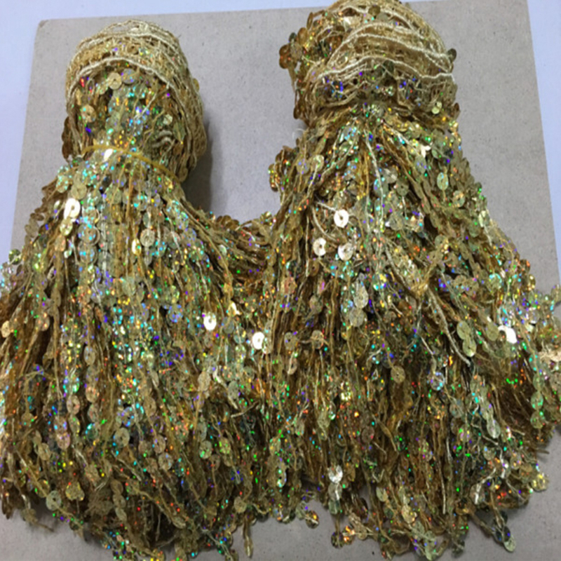 7Meters/lot 20CM Width Handmade DIY Gold Latin Clothing Curtain Accessories Lace Fringed Soluble Embroidery(China (Mainland))