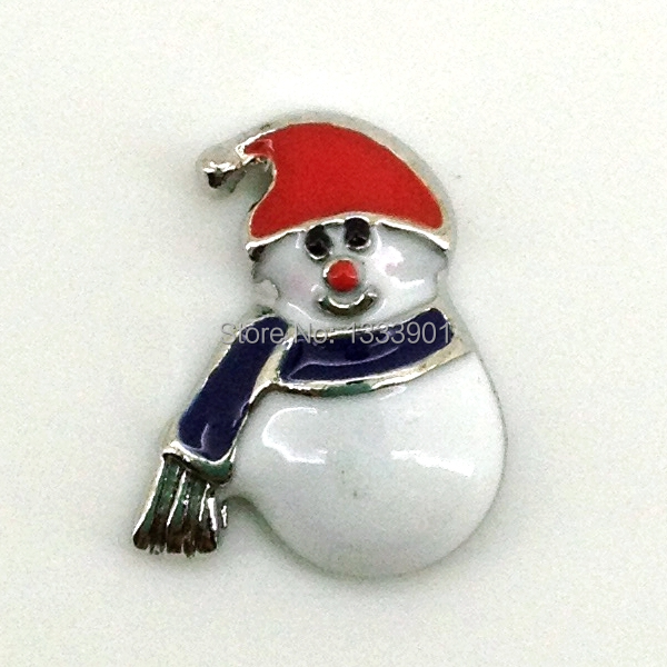 red hat scarf Christmas snowman floating window charms for glass living memory lockets(China (Mainland))