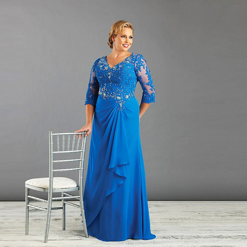 Buy Blue Plus Size Mother Of The Bride Dress With Sleeve Chi