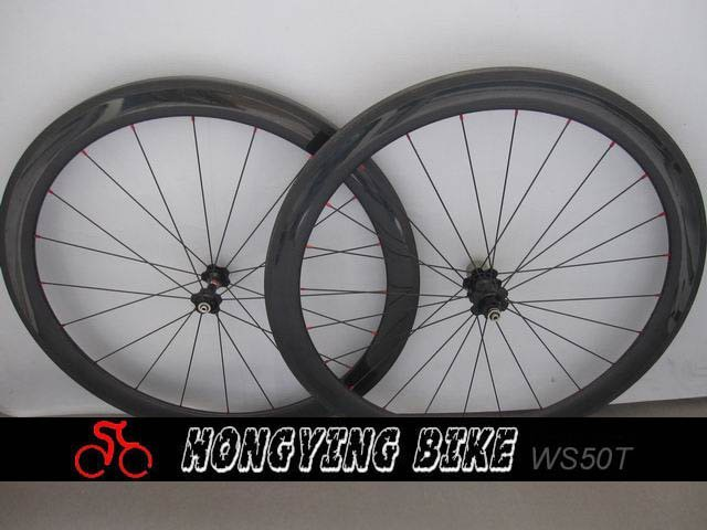 3k Clear Finish 50mm Carbon Bike  Wheel Tubular