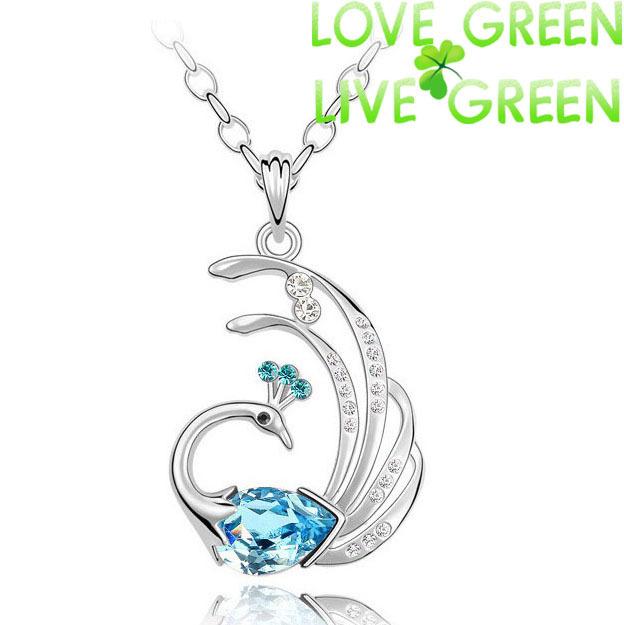 free shipping design Wholesale AAA+ Zircon Rhinestone crystal Peacock Fire Phonix pendant necklace chain fashion jewelry 84276(China (Mainland))