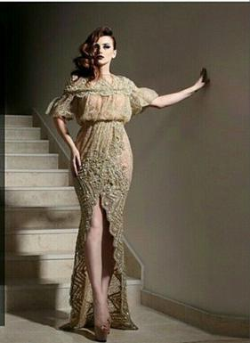 Special Occasion Dress Celebrity dress 2015 yousef Aljasmi Custom Champange High-Neck Half-Sleeve Lace Sheath Floor-Length - Modern-Zone1995 store