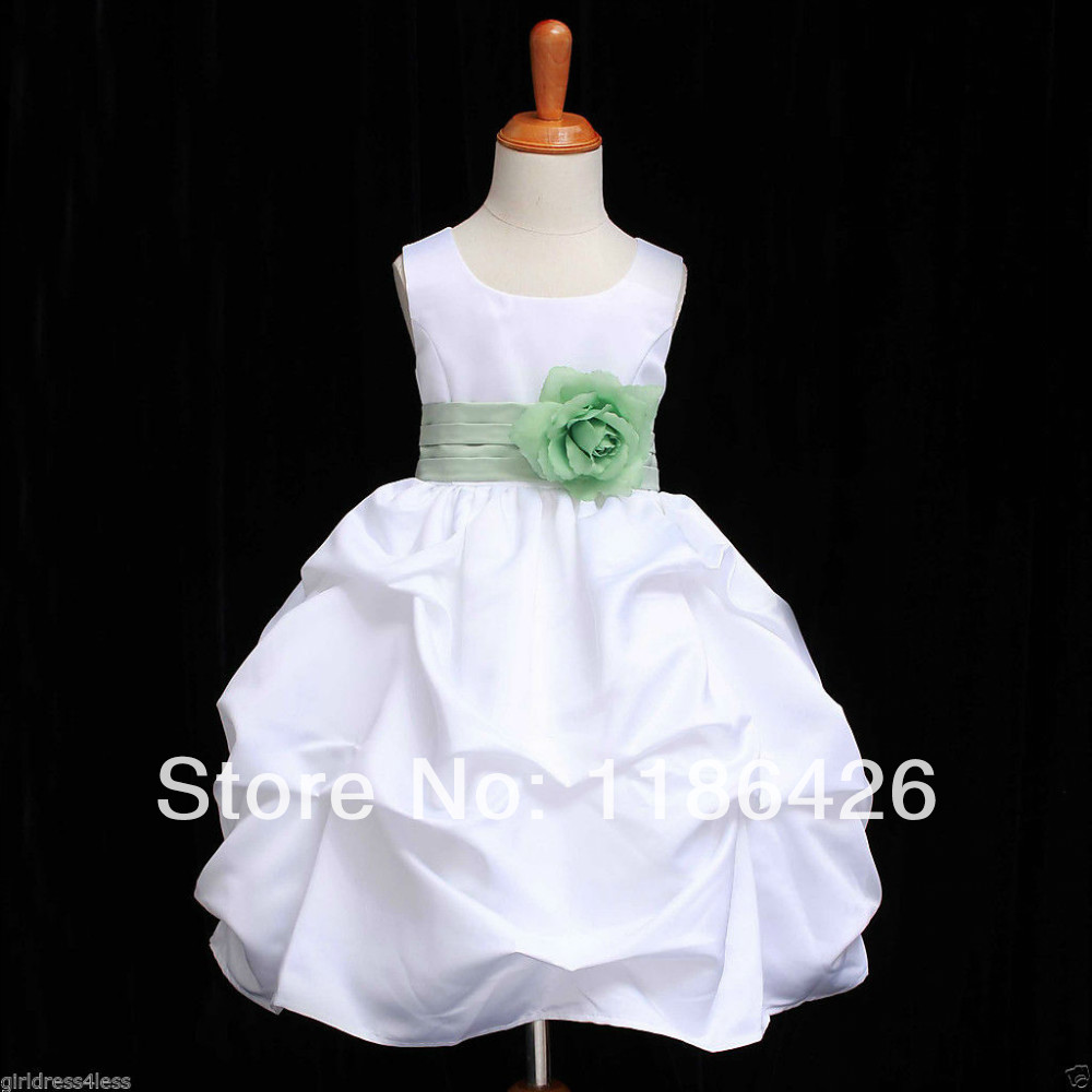 White sage green wedding pick up formal gown party flower for Wedding party dress up