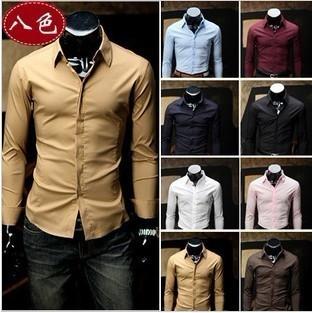Summer 2015 men's fashion Slim shirt shirt men long sleeve shirt 8 colors and free shipping(China (Mainland))