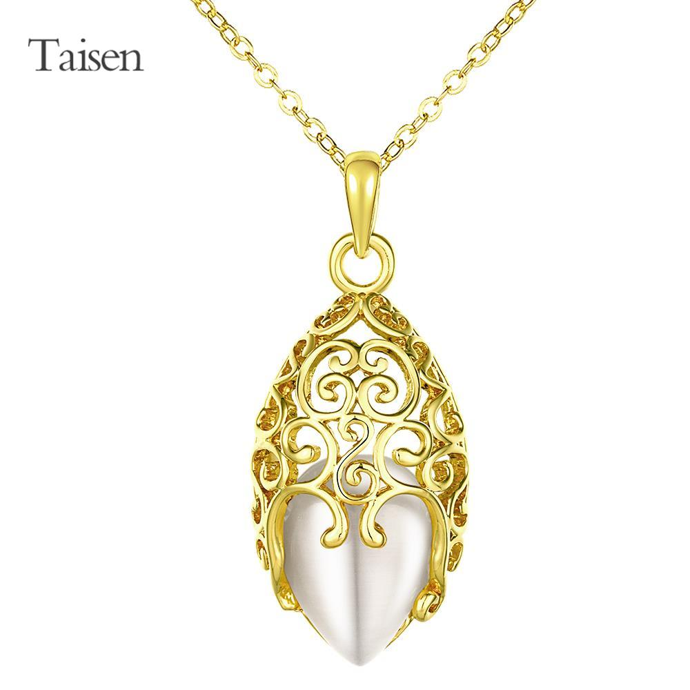 dress bijuteria Wholesale drip type18K Real Gold Plated necklace For Women New romantic Fashion opal Jewelry 18+2.5 inches chain(China (Mainland))