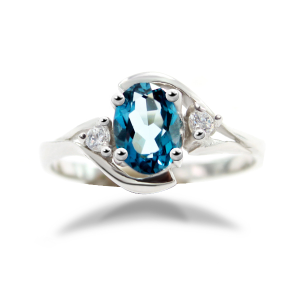 Natural London Blue Topaz Engagement Ring Genuine 925 Sterling Silver New Hot Top Quality Women