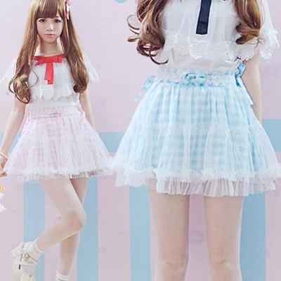 Mini free shipping 2014 pink lace - Plaid Cute Japanese Lace Skirt Short Mini Skirts Lolita Skirt Pink