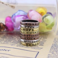 New 1Set (8pcs) Vintage Fashion Mixed Charms Lettering Wishing Ring Rings-Copper(China (Mainland))