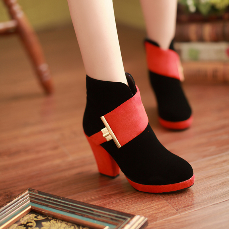 Big size 34-43 autumn and winter 2014 new sexy ankle women's boots high-heeled suede women's singles shoes women pumps
