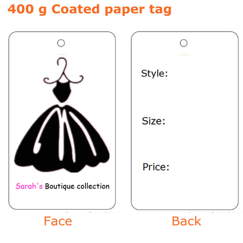 Custom shop name 400 g Coated paper tags dress print price swing Hang tag Top quality 54 mm * 90 mm(China (Mainland))