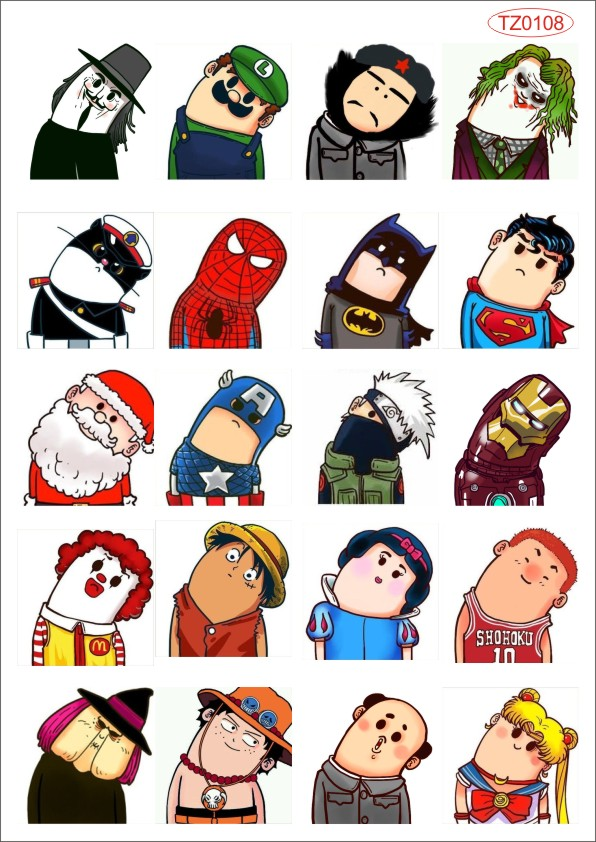 Super Heros American Cartoon comic Laptop notebook Luggage travel bag car doodle car styling PVC Stickers tz0108 Glossy Film(China (Mainland))