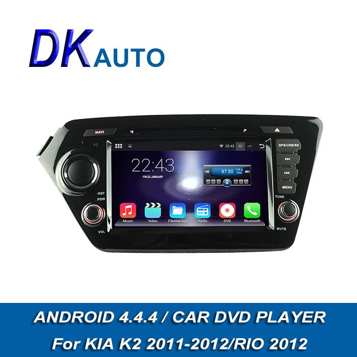 HD1024*600 Pure Android 4.4.4 OS Car DVD Player For Kia K2 Rio 2011 2012 2 Din 7 Inch Car Stereo GPS Navi BT USB DVD Wifi DVB T2(China (Mainland))