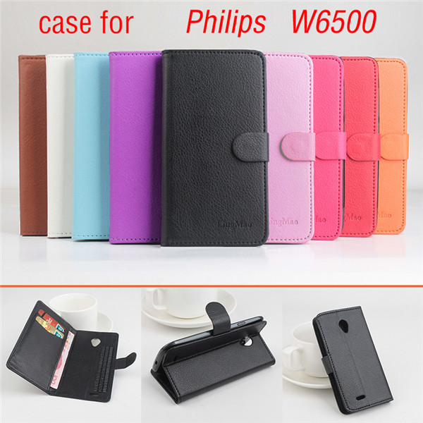 product  Lychee Fashion  Leather Case For PHILIPS W6500 Flip Cover Case With Card Slot For PHILIPS W 6500 Leather Cover Case Phone Cases