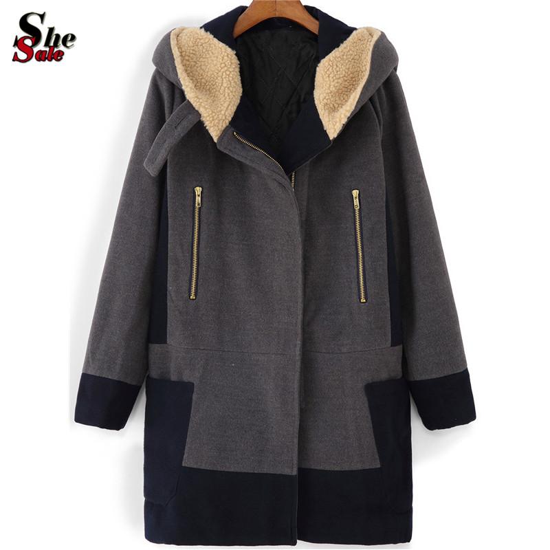 Winter/Fall Korean Designer Womens Fashion Color Block Outwear Long Sleeve Plus Size Grey Hooded Zipper Pockets Coat